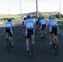 Metromint riders head out for a spin on the eve of Friday's opening stage.